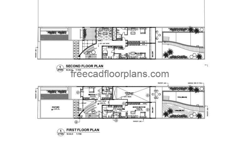 Long Three-story House With Swimming Pool Autocad Plan, 105201