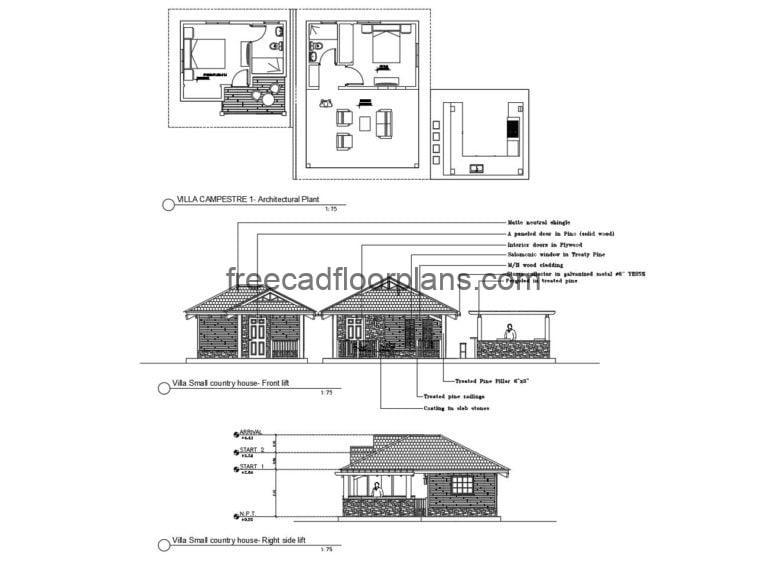 Small Country House with Gazebo Autocad Plan, 1005201