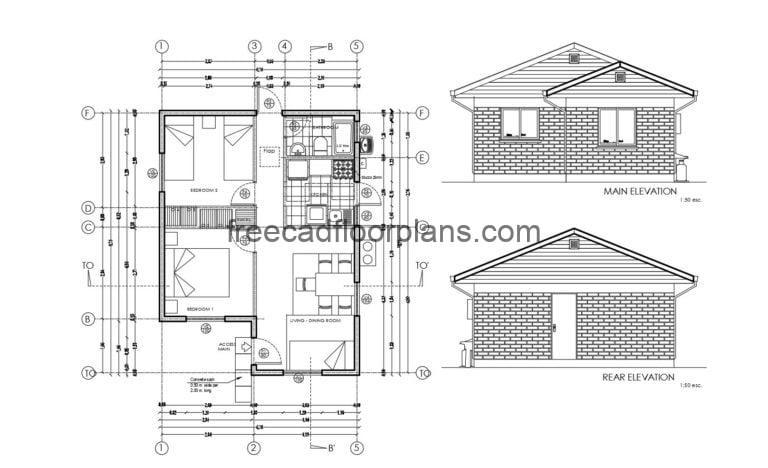 Small House Autocad Plan, 1805201