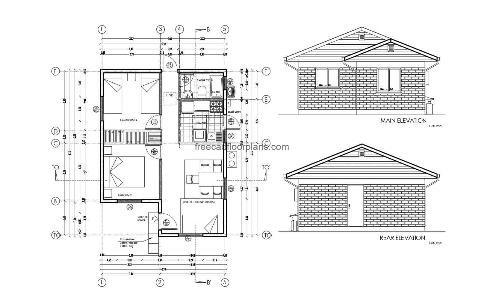 Design project for a small house with two rooms equipped with DWG autocad blocks