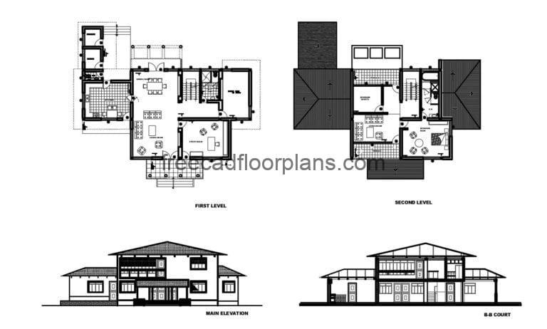 Two-storey Country House Autocad Plan, 1205202