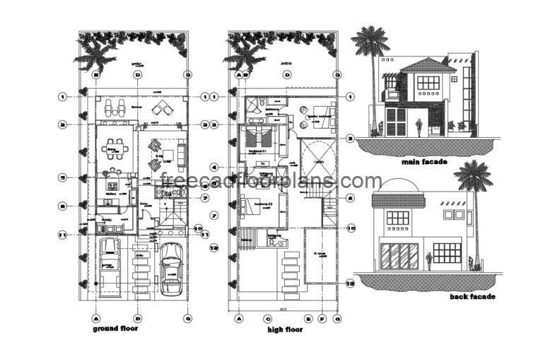 Elongated House With Two Floors Autocad Plan, 705202
