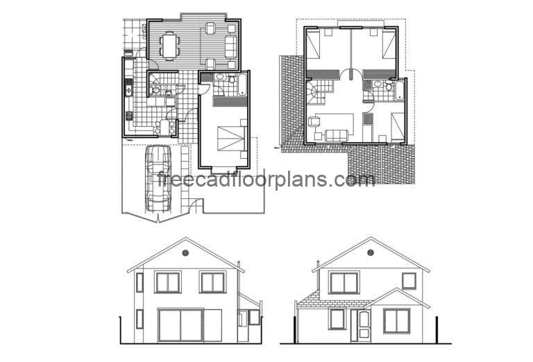Two-storey Residence Autocad Plan, 705201