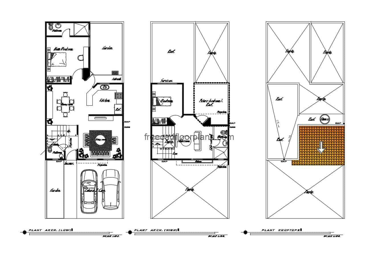 Architectural project of a two-level house with two rooms in autocad, equipped with blocks and DWG furniture