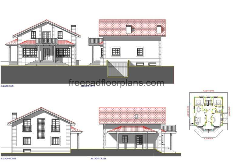 Two-storey country house with basement Autocad Plan, 2205201