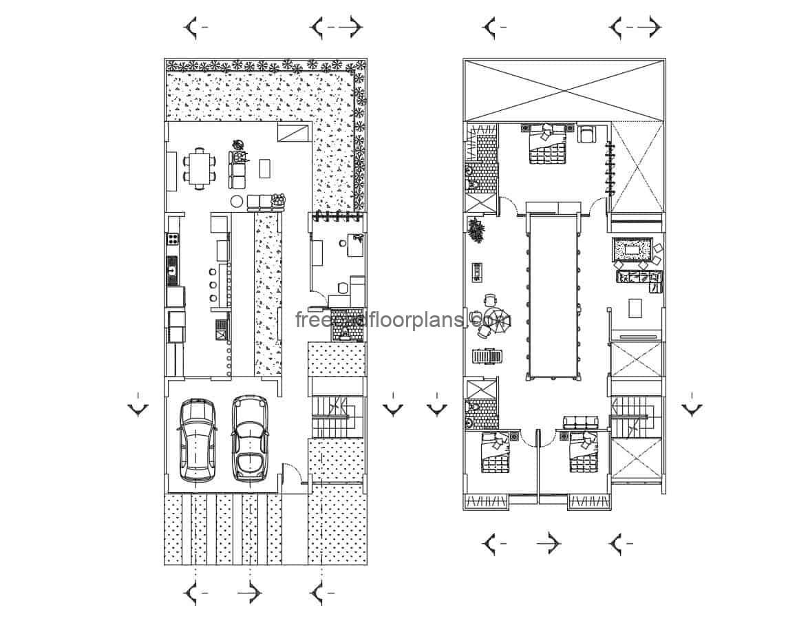 Detailed autocad plan of house with patio and back terrace, garage for two vehicle