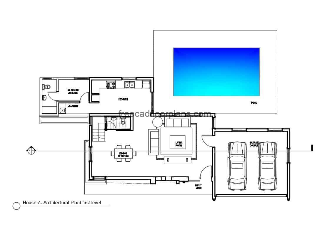 architectural blueprint autocad drawings of complete plans of modern two-level house with four bedrooms