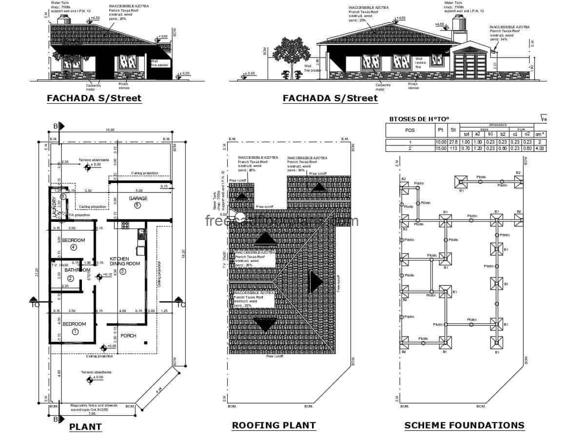 Distribution plan architectural project of country house, plans editable in autocad DWG