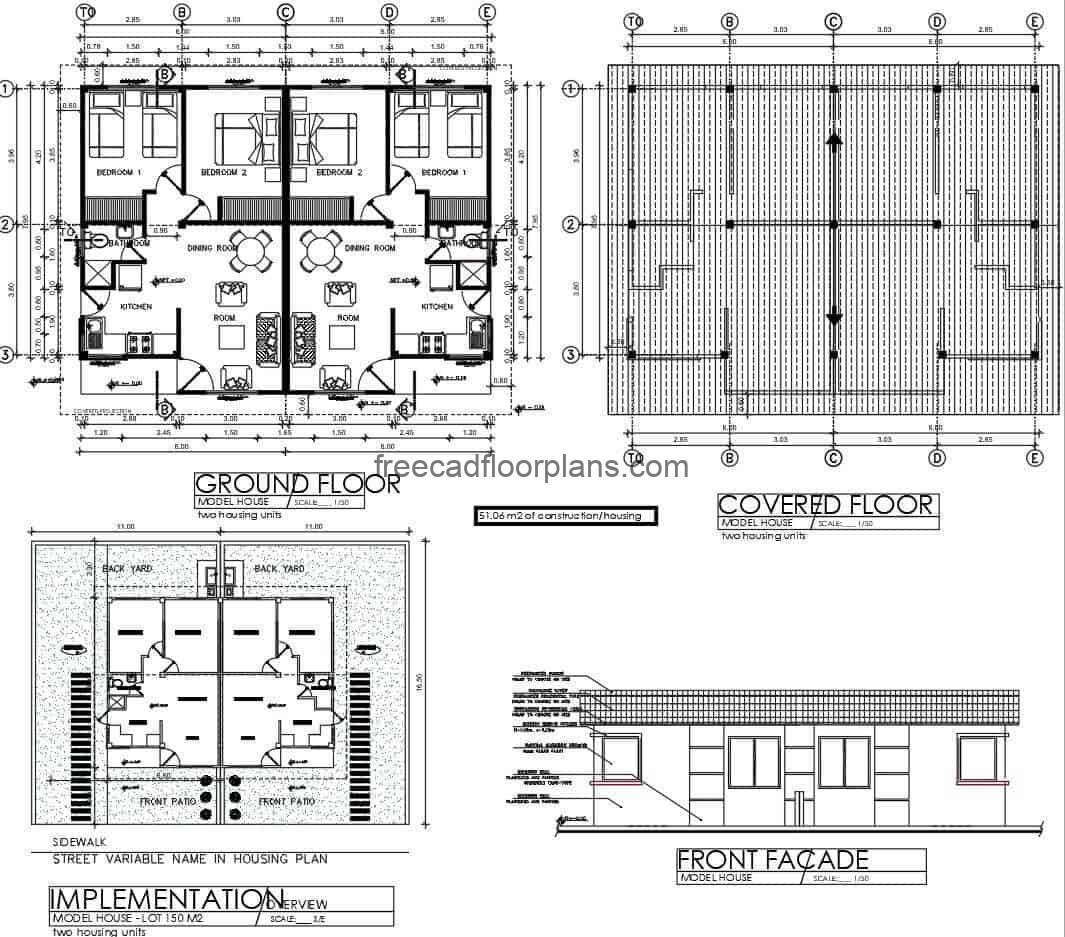 complete house plans on one level, plans with facade and structure details, DWG format