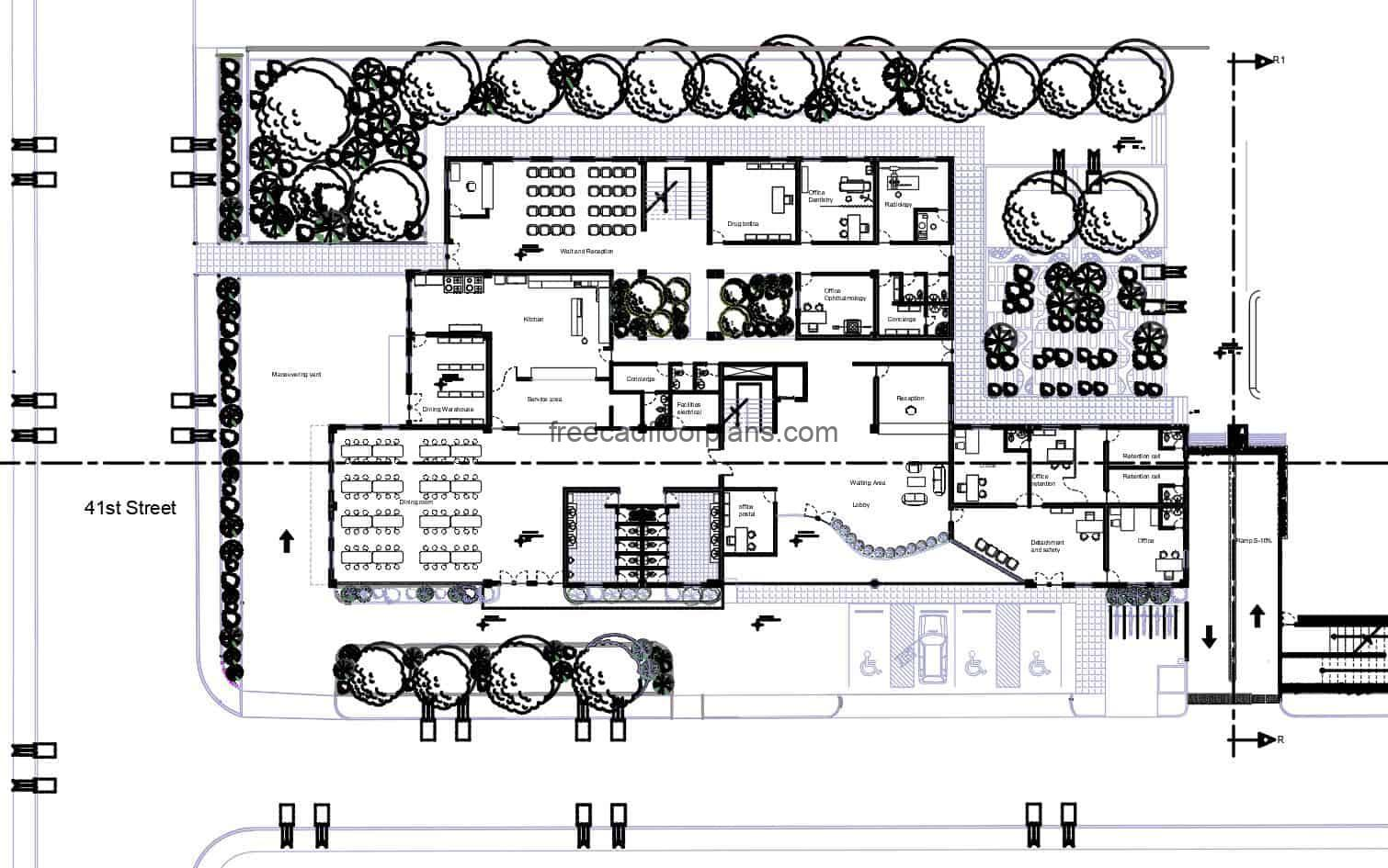 Complete Architectural Project of Community Center of several levels, composed of community clinic, security center, post office and public dining room, defined spaces and blocks in autocad DWG.