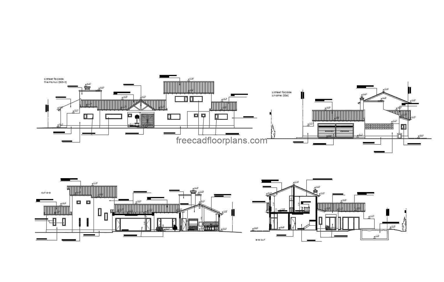 Architectural plans and complete draft of a two-storey country house in DWG format
