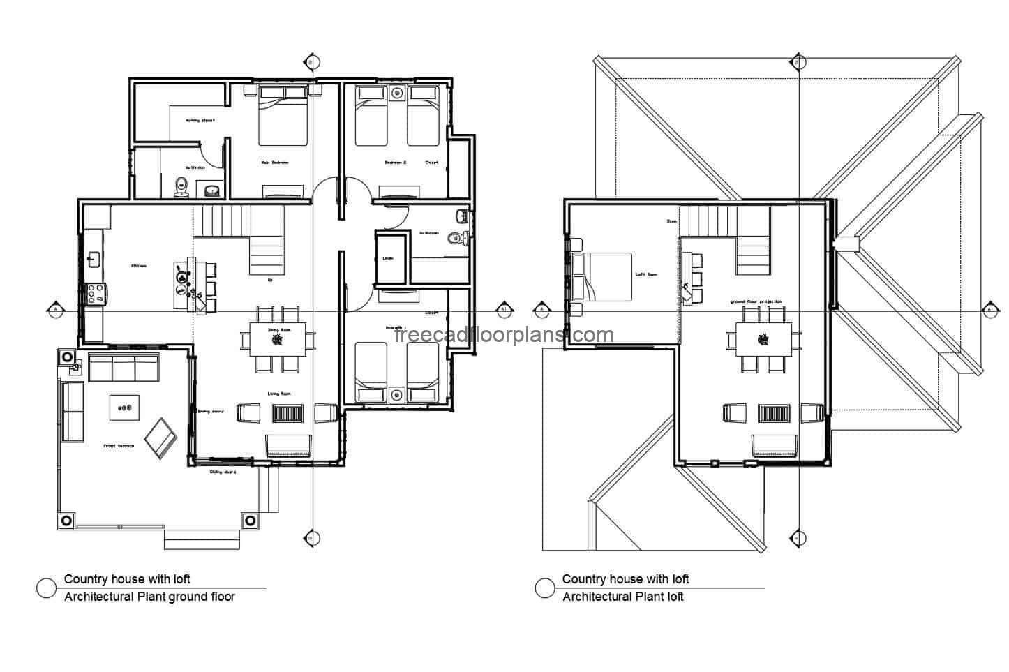 Architectural plans in autocad format for free download of a two-level country house with three bedrooms and a loft.