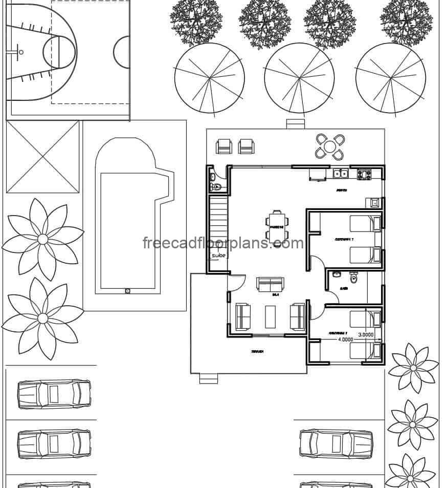 Architectural design project of a country family house implanted in a large area with vegetation, complete with DWG blocks