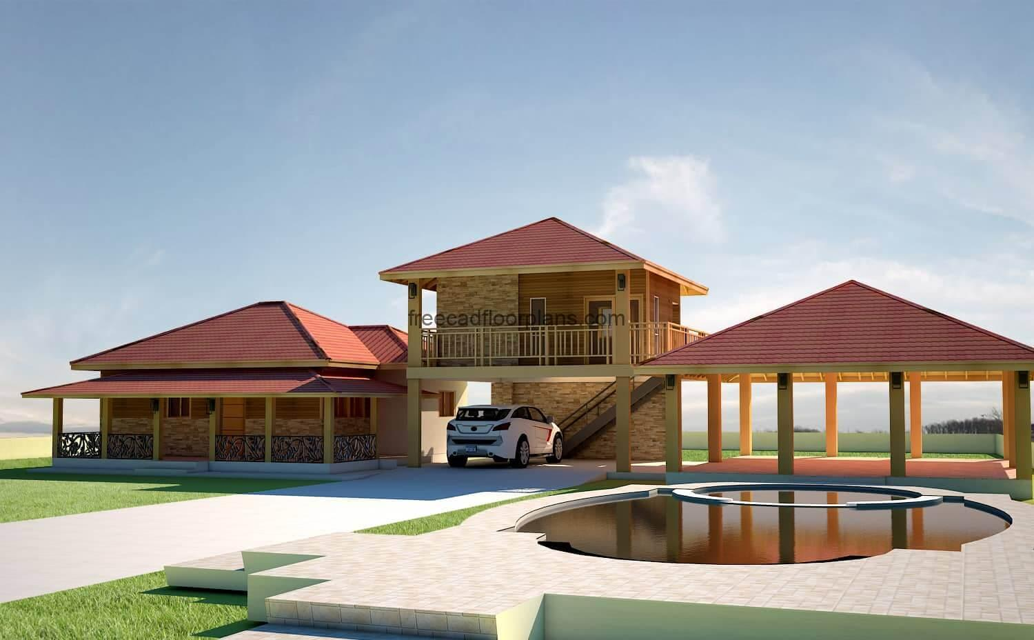 Preliminary architectural project in DWG of a housing complex designed with a country villa on one level with two bedrooms, and another room next door on a second level with a garage underneath, gazebo for social area and swimming pool