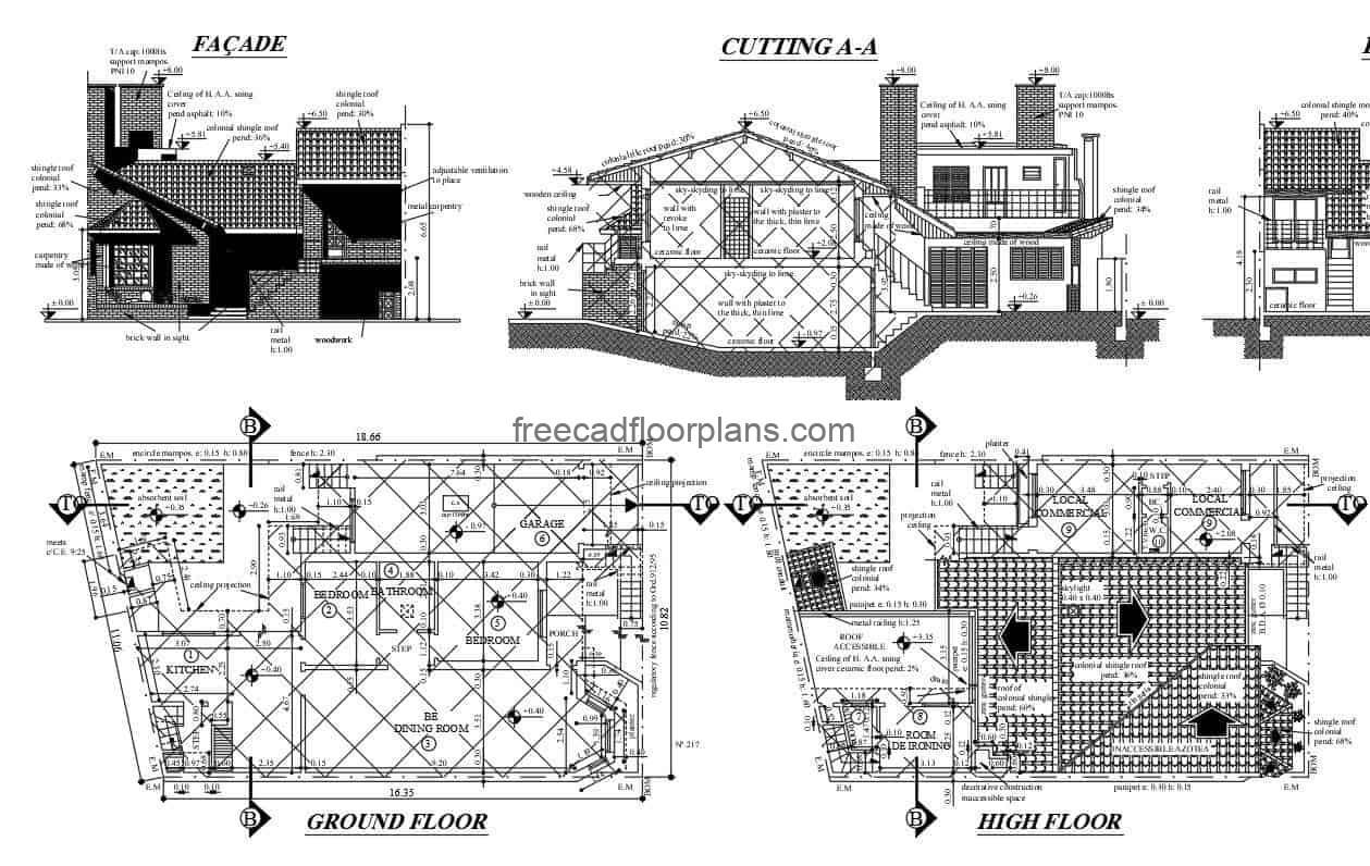 architectural project of house combined with premise, free plans to download editable in autocad DWG