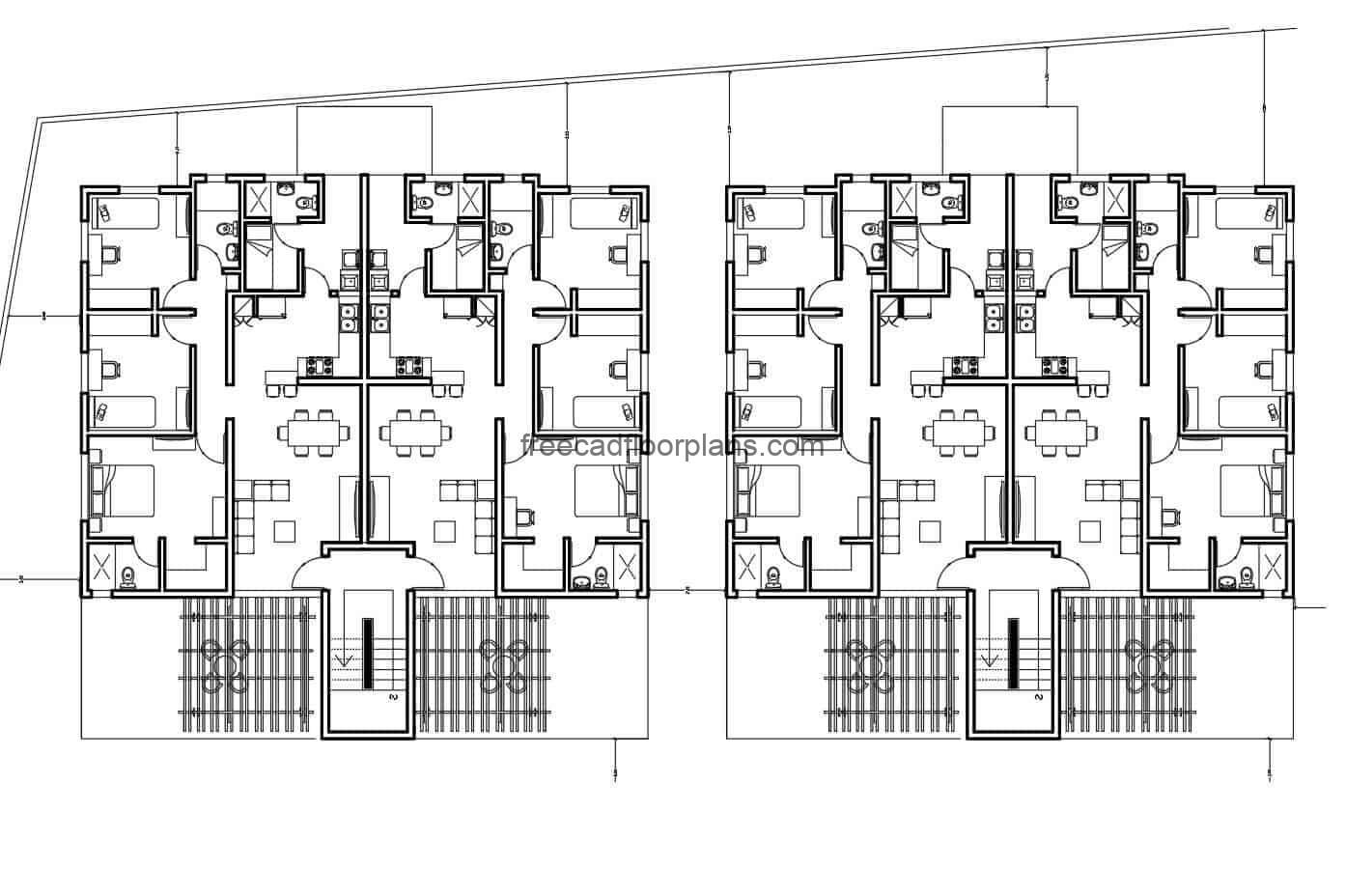 Preliminary design of a complex of rooms with several levels in a raised structure, plans that can be edited in DWG format