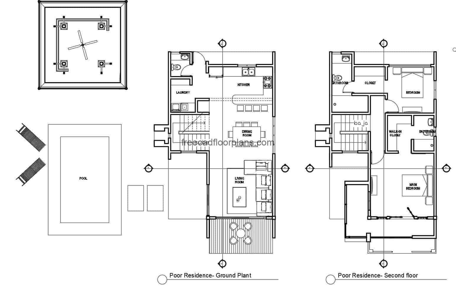 architectural draft in autocad DWG format of modern house with swimming pool