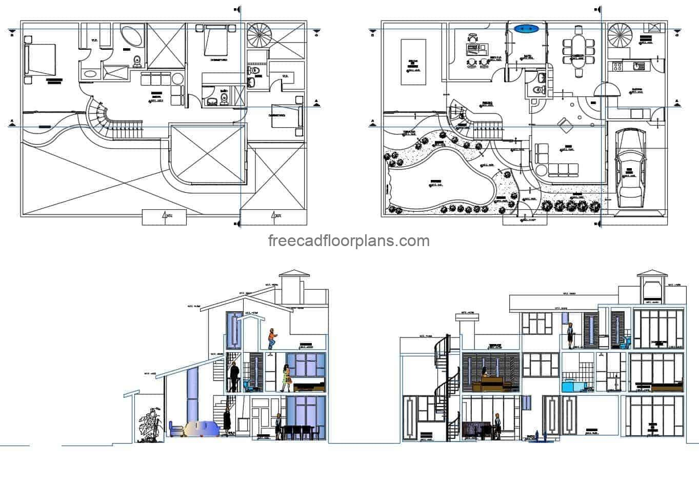 Architectural project in DWG format of a modern three-storey residence, architectural floor plan for space distribution, detail plan with sections and interior elevations, blocks in DWG for free download