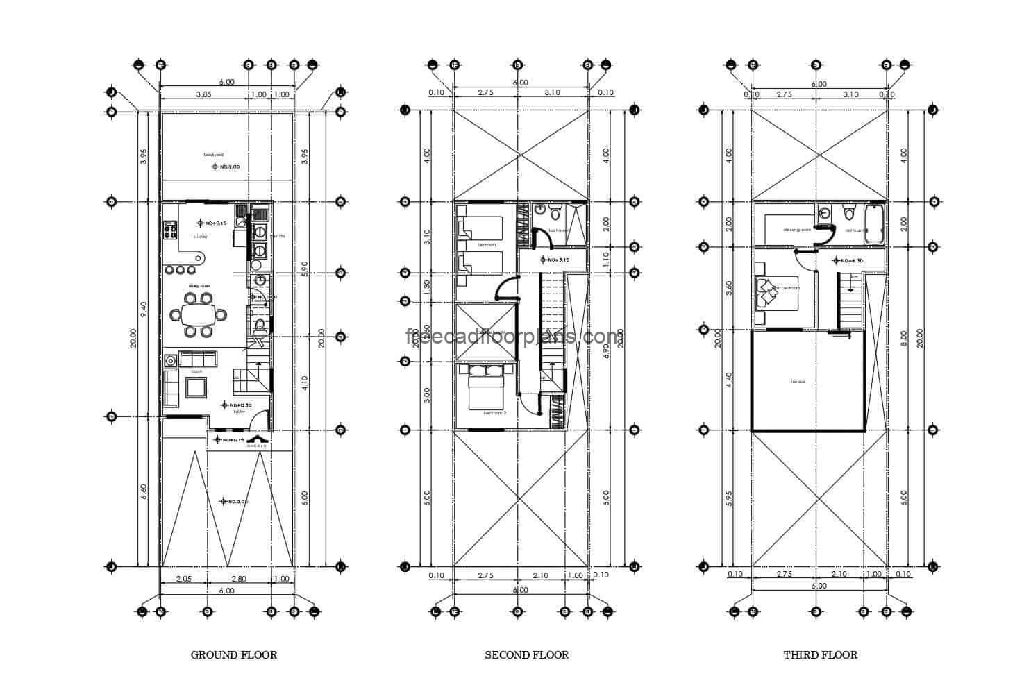 Plans in autocad of small elongated house of multiple levels, with two rooms.
