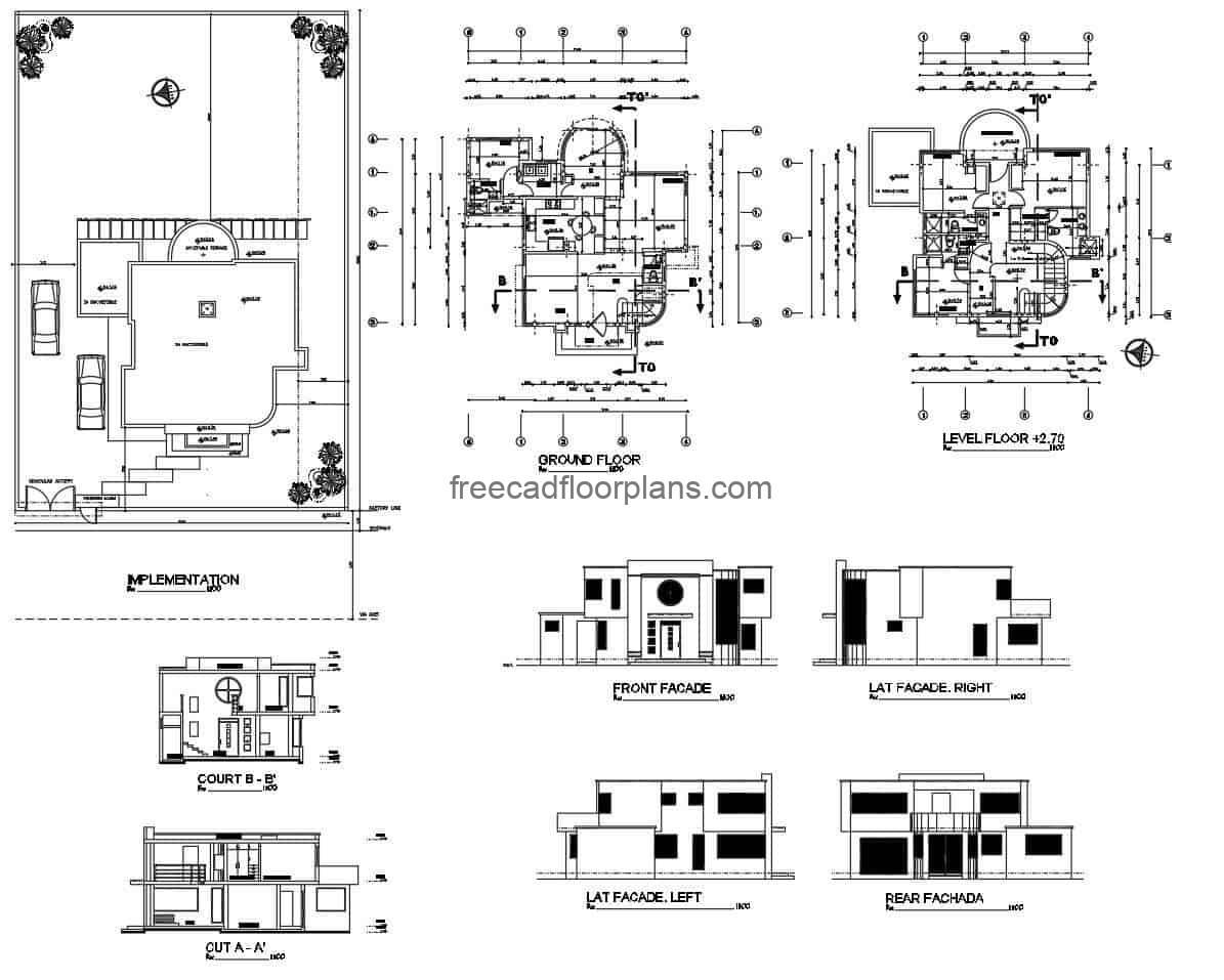 architectural draft of a two-storey modern house for free download in autocad DWG format of a modern house with swimming pool, editable file