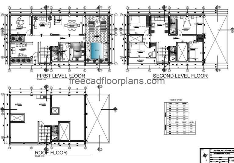 Two-storey House with Swimming Pool Autocad Plan, 0606201