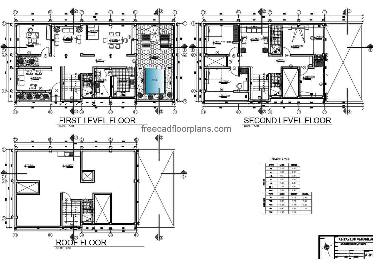three-level house plans editable in DWG format, rectangular distribution and ceiling plan.