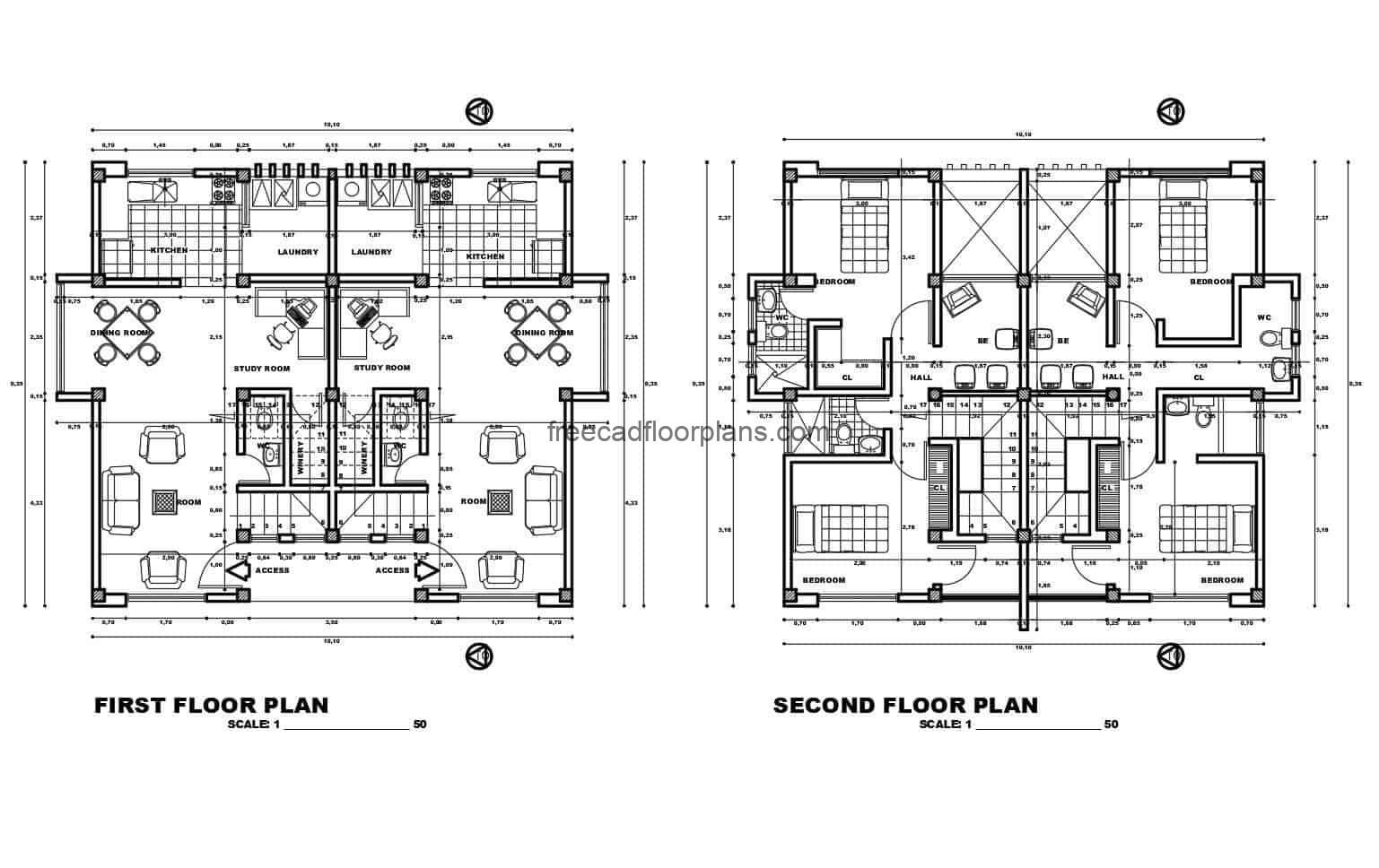 Architectural project with detail plans in DWG autocad format, of a duplex family house on two levels, facades, floors with details and dwg blocks for free download