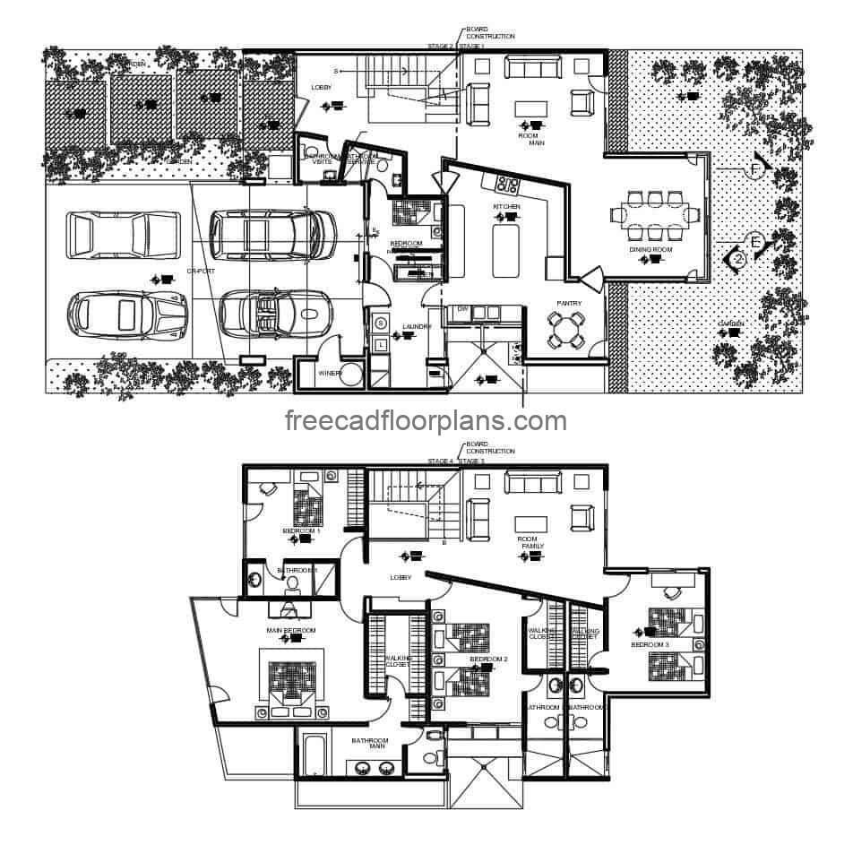 Project in Autocad DWG format for a two-level house with three rooms on the second level