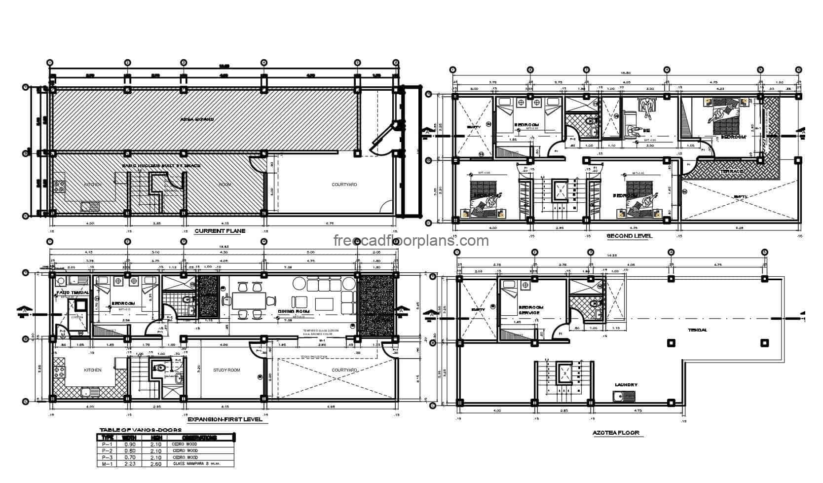Two storey residence autocad architectural project dwg plan