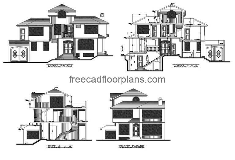 Two Storey Residence Autocad Plan, 1206202