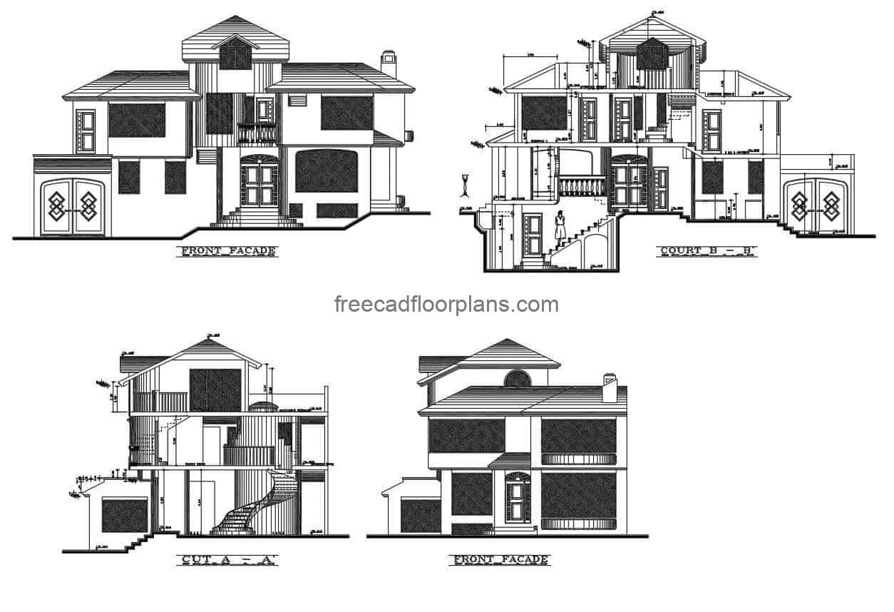 Architectural design of traditional house with sloping roofs for free download in DWG autocad format of modern house with pool