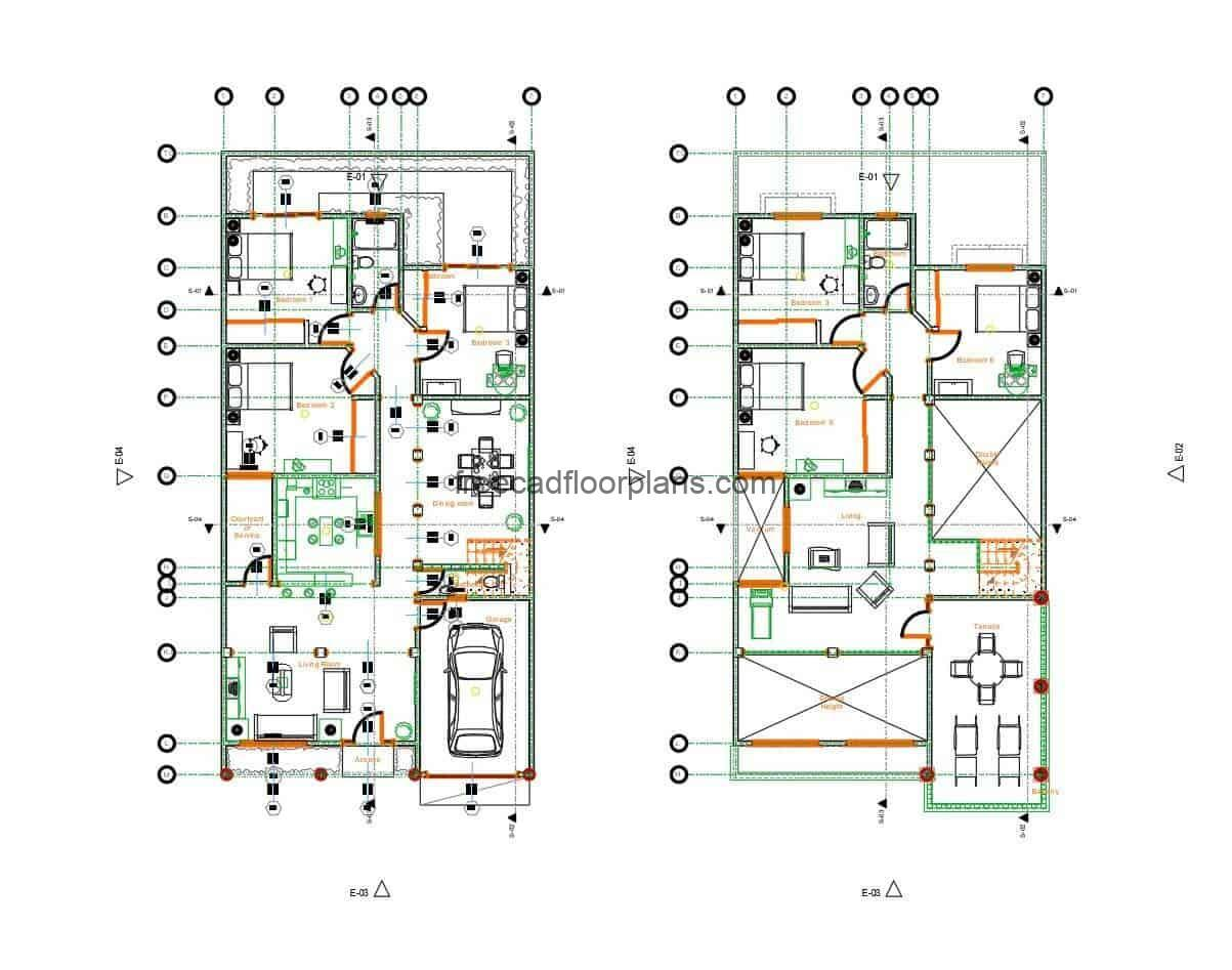Complete architectural project in DWG format of a two-storey house, autocad plans with details and materials