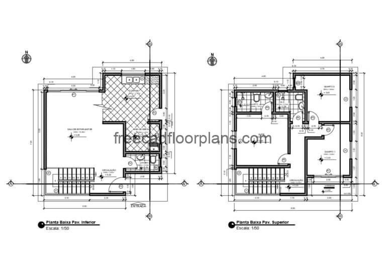 Small Two-storey House Autocad Plan, 0606202