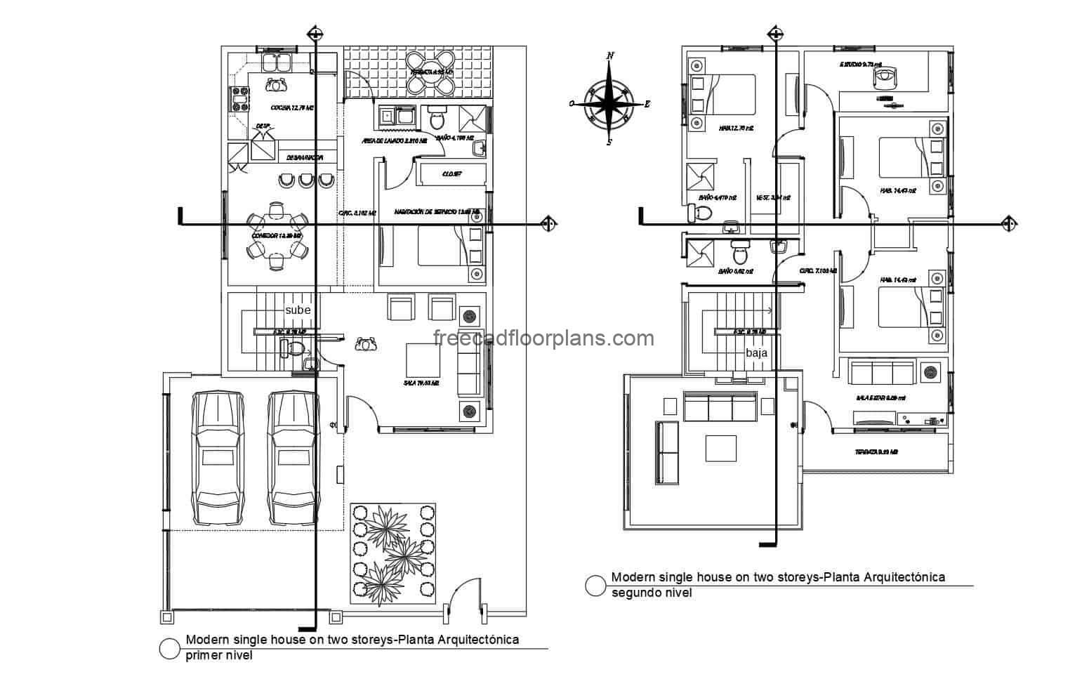 Modern house of two levels complete project in autocad, house of two levels with four rooms and garage for two vehicles