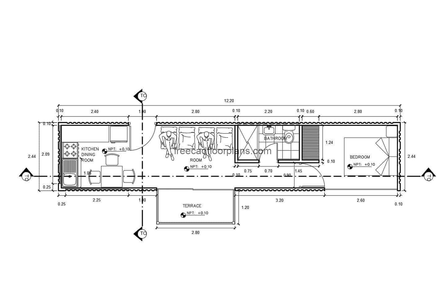 Architectural layout plan of a small house in a container, details and floor plan in DWG autocad format