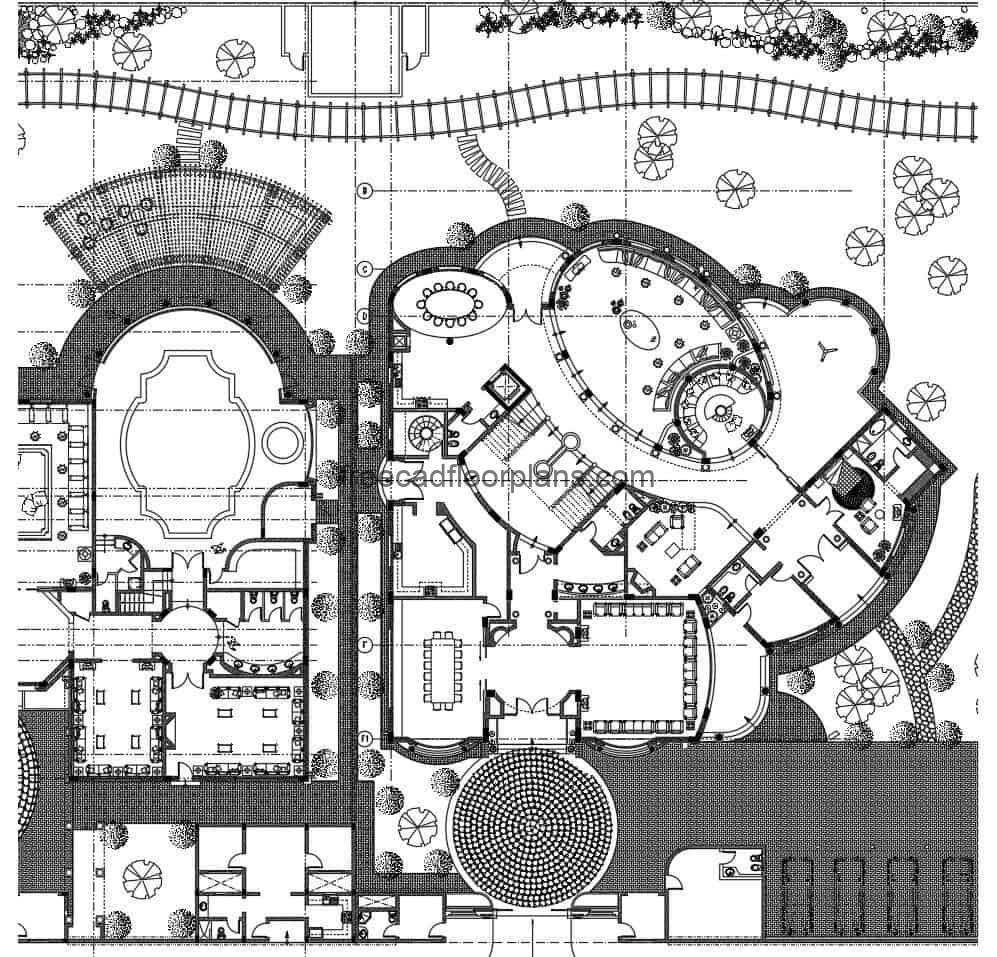 Clubhouse and Villas project consists of a set of residential buildings in DWG drawing with a large number of blocks, wall axes, architectural project details