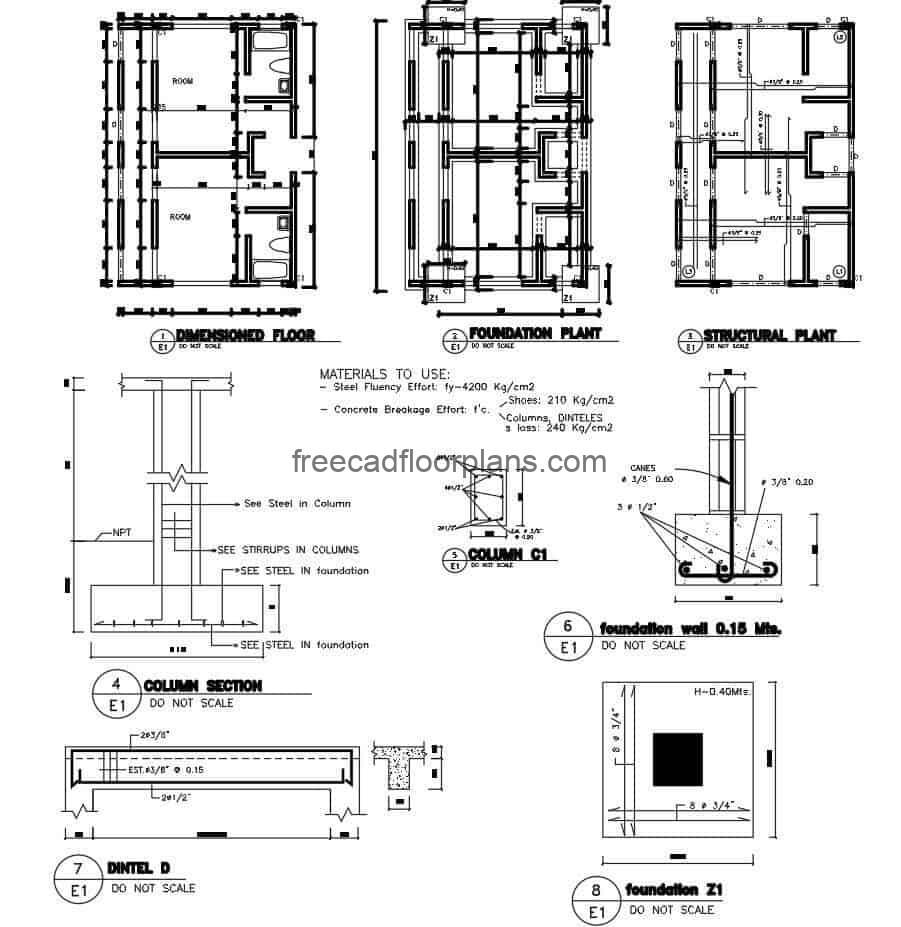 Foundation details for house in DWG file, consisting of plan with foundation details and structural plan for a single family house, steel details in beams, columns and roof slab
