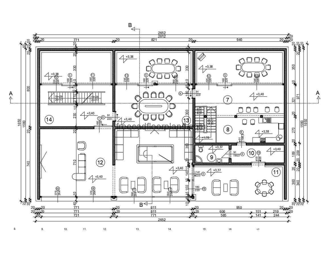 Architectural project of a modern house on a hillside, plans with editable construction details in DWG autocad format