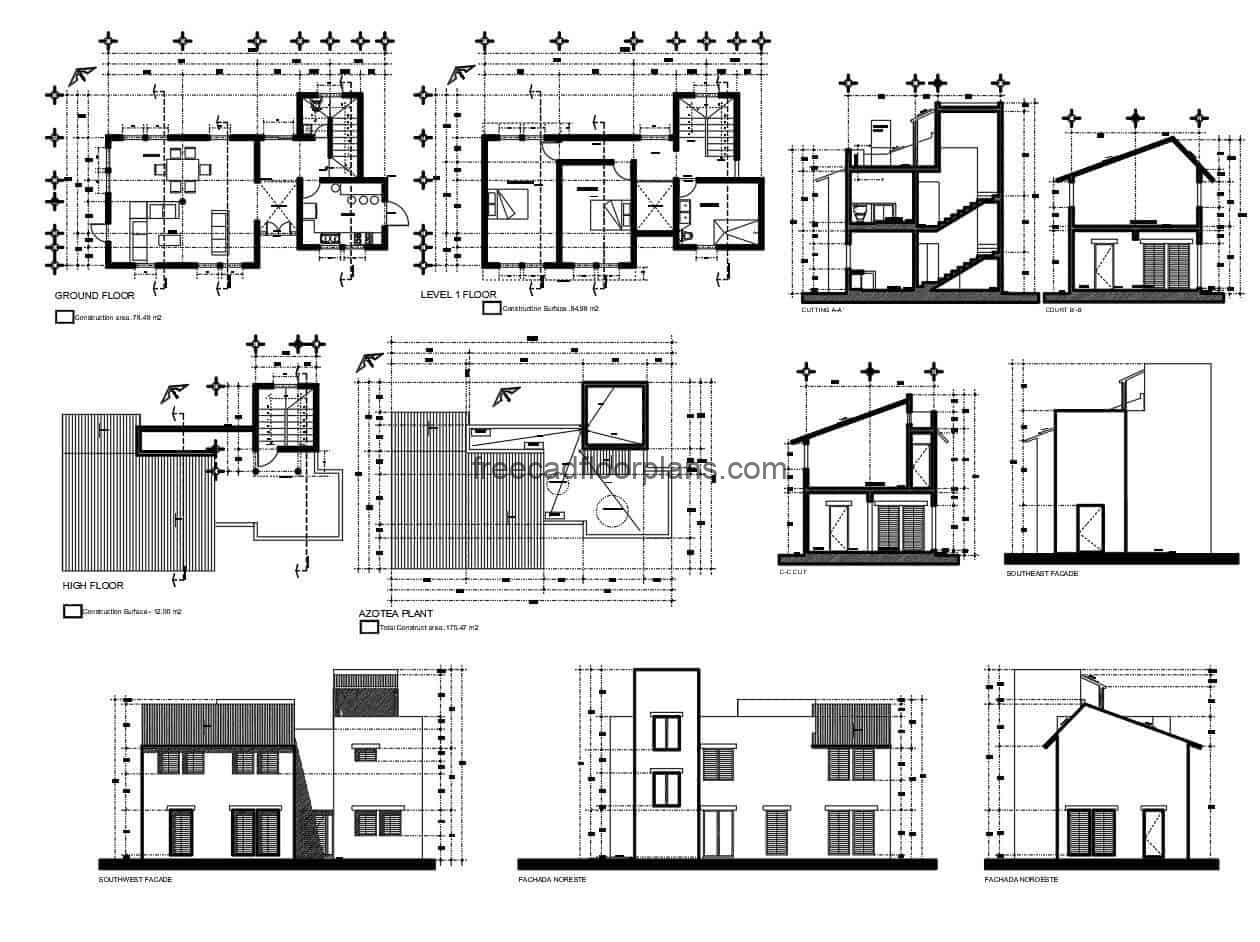 Complete residence plan with elevations, floor plan sections and architecture in autocad DWG format, free to download