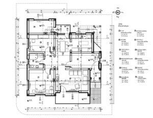 Detailed plans of a one level house, with blocks in DWG autocad, dimensioned and architectural plan.