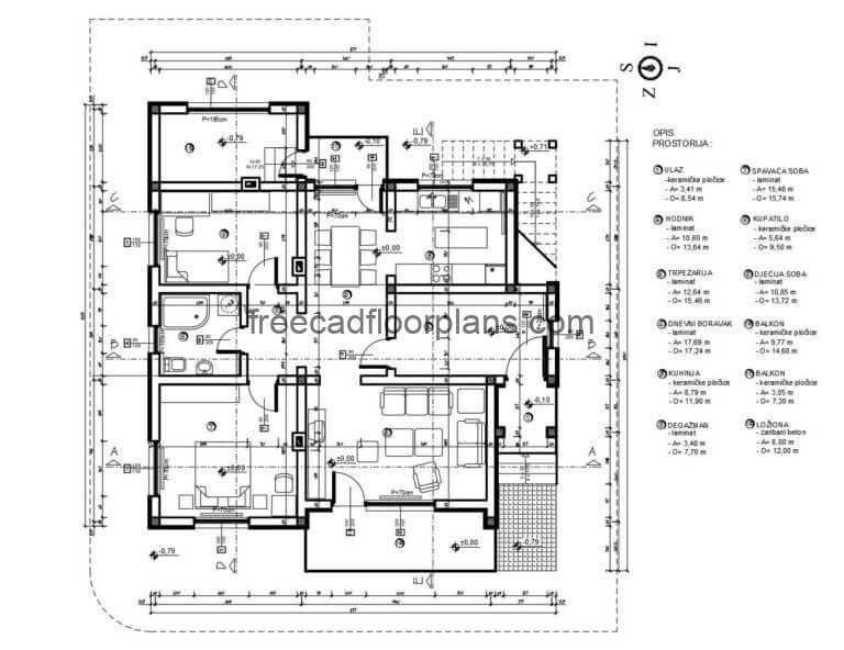 Simple Two-room House Autocad Plan, 0306202