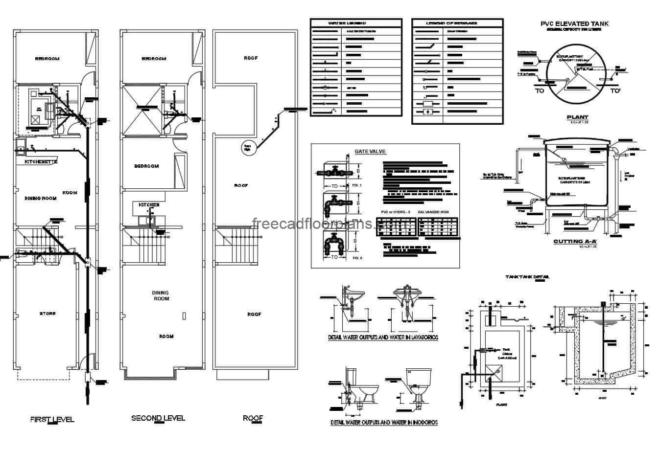 Elongated house of two levels complete architectural project of family residence with complete technical plans in Autocad DWG format, sanitary, electrical and structural plans, editable blocks and technical specifications of the project