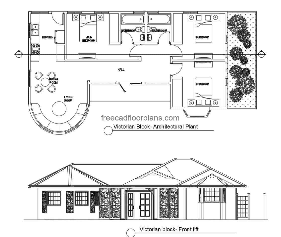 Simple country house with Victorian facade style, before complete project in defined plans DWG of Autocad, the project provides a simple house of easy construction