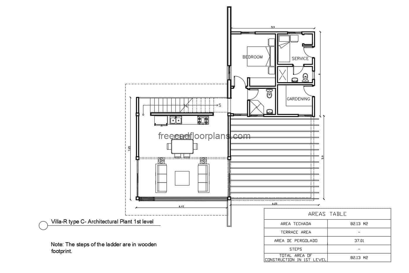 Complete project of autocad plans of a two level country house with three rooms and loft, structural details, technical sanitary, electrical and structural plans.
