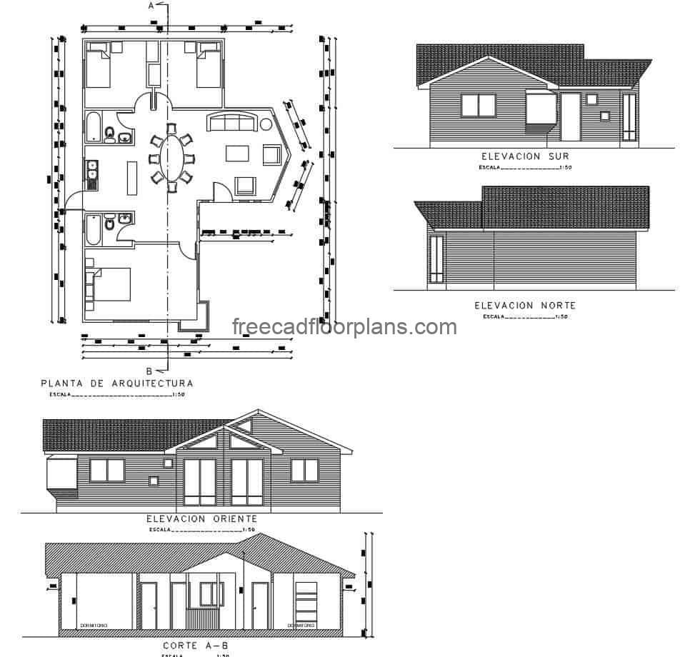 Country house, single floor bungalow divided into four different architectural design proposals, with three bedrooms, living room, dining room and two bathrooms on one level, free plans in DWG autocad format