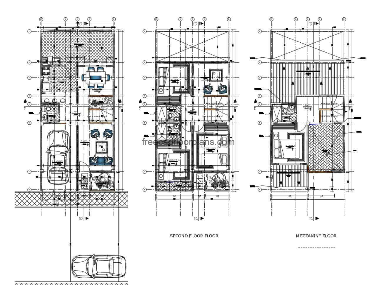 Complete project in DWG format of Autocad of family resilience of 2.5 levels, with social area in first level, private area in second level with three bedrooms and family room, and floor in attic with main room and terrace. Plan for free download, architectural plans, sizing, elevations, sections and structural and foundation details