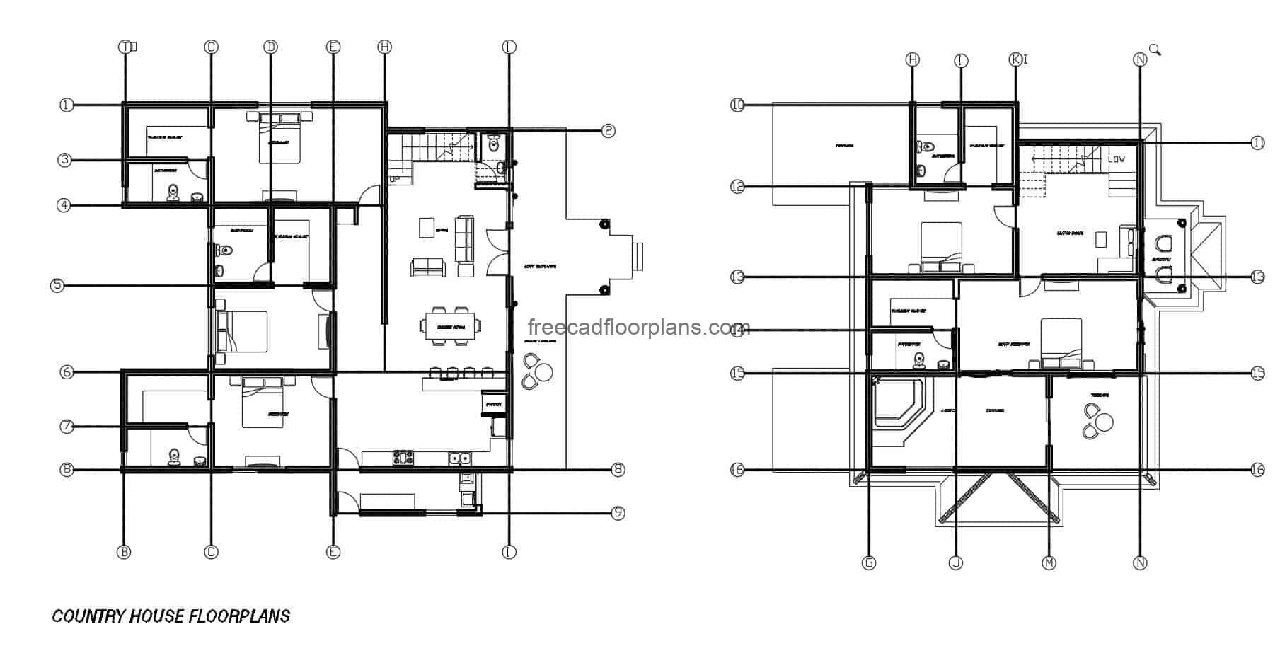 Before architectural project of plans in format autocad editable of great country house of two levels with five rooms, social area in first level and great exterior patio with swimming pool, dimensioned plant, elevations and plant of distribution of spaces.