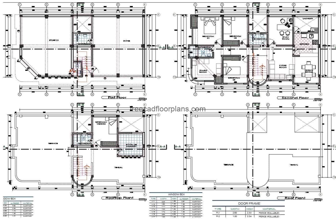 House and commerce mixed, design in two levels of commercial premises and residence in second level, architectural plant and elevations, file for free download in DWG format.