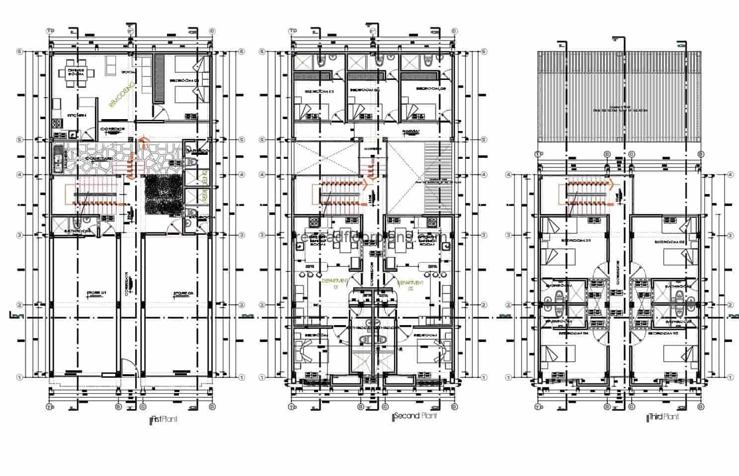 Complete commercial and residential building design, architectural plans, sizing and elevations for free download in Autocad DWG format.