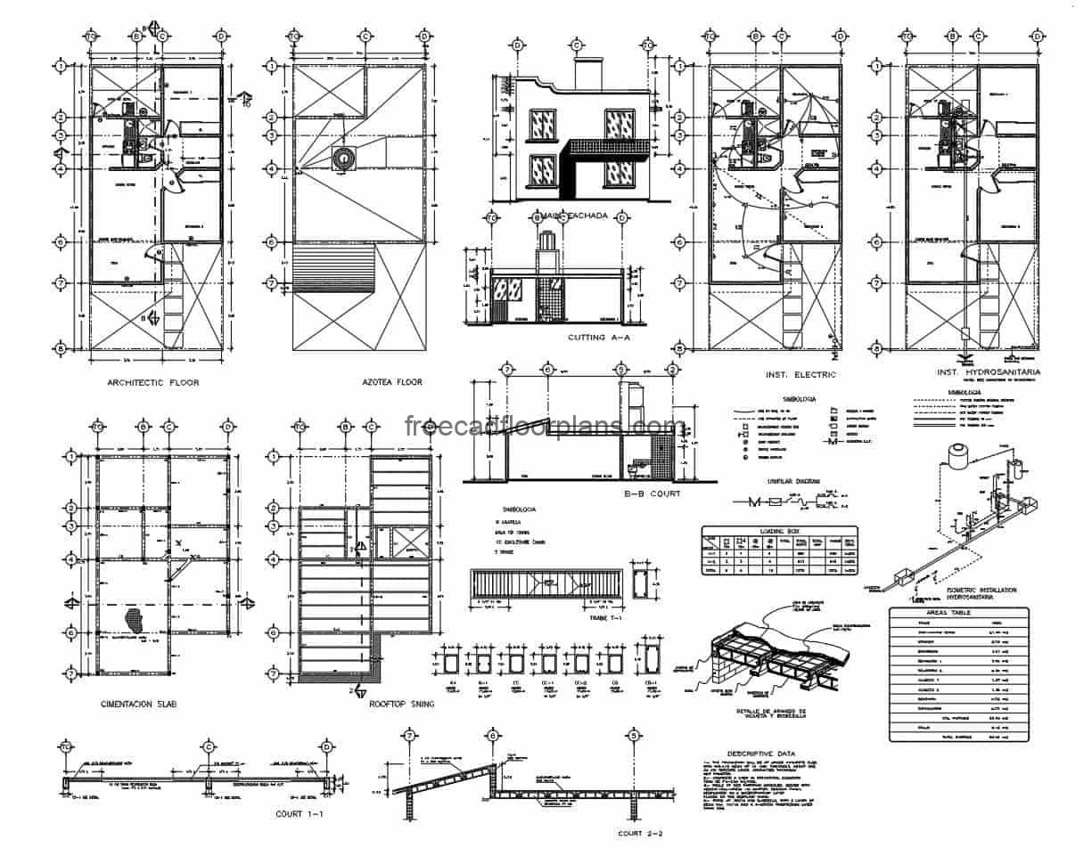 Simple house plan in DWG format, architectural and dimensioned plant, facades, sections, and plans of constructive technical details, foundation, electrical, sanitary and structural plan